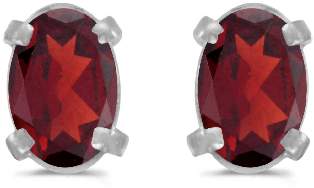 14k White Gold Oval Garnet Earrings (CM-E1551XW-01)