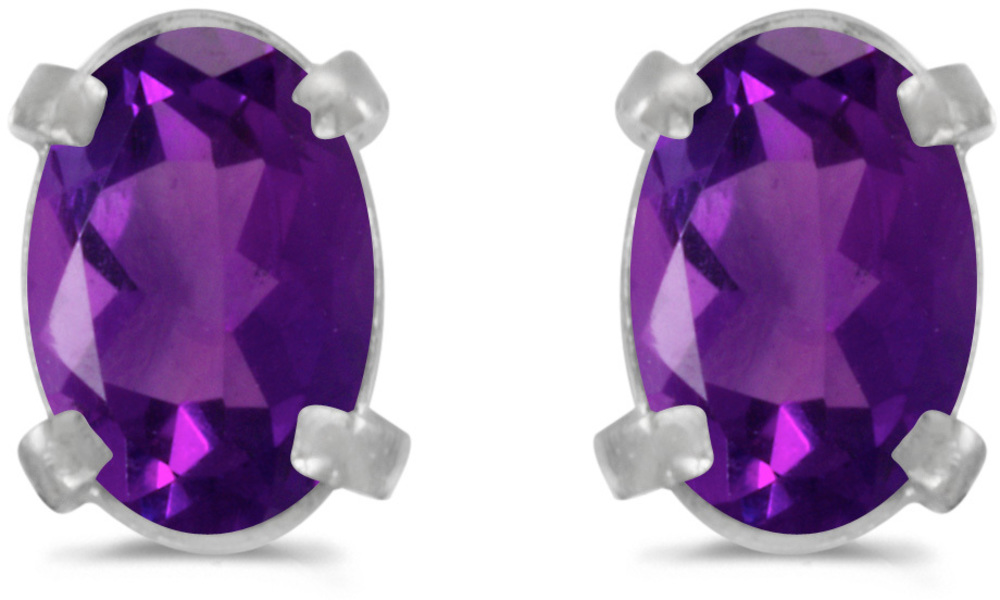 14k White Gold Oval Amethyst Earrings (CM-E1551XW-02)