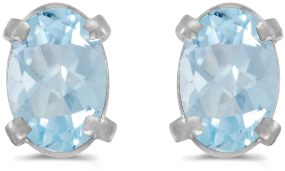 14k White Gold Oval Aquamarine Earrings