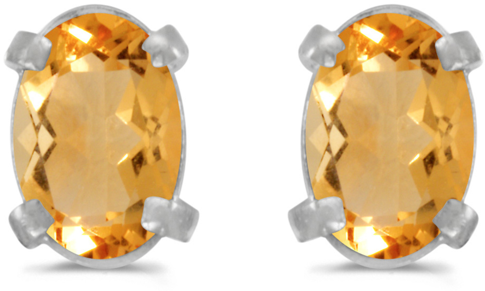 14k White Gold Oval Citrine Earrings