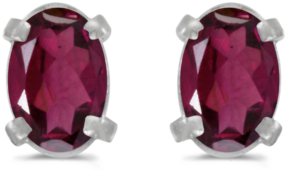 14k White Gold Oval Rhodolite Garnet Earrings