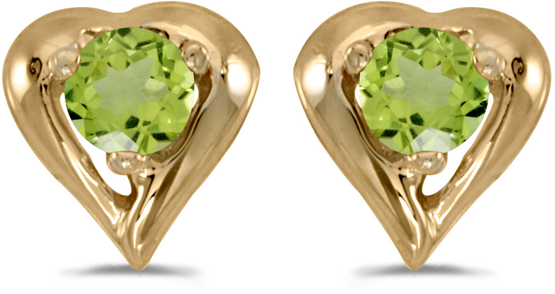 14k Yellow Gold Round Peridot Heart Earrings