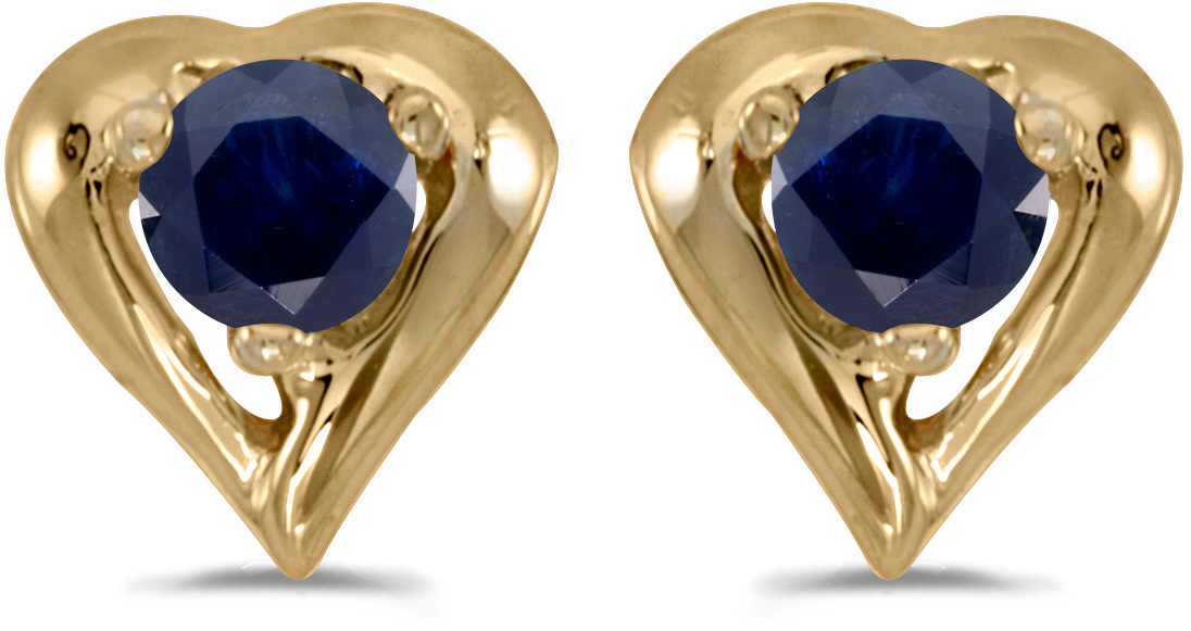 14k Yellow Gold Round Sapphire Heart Earrings