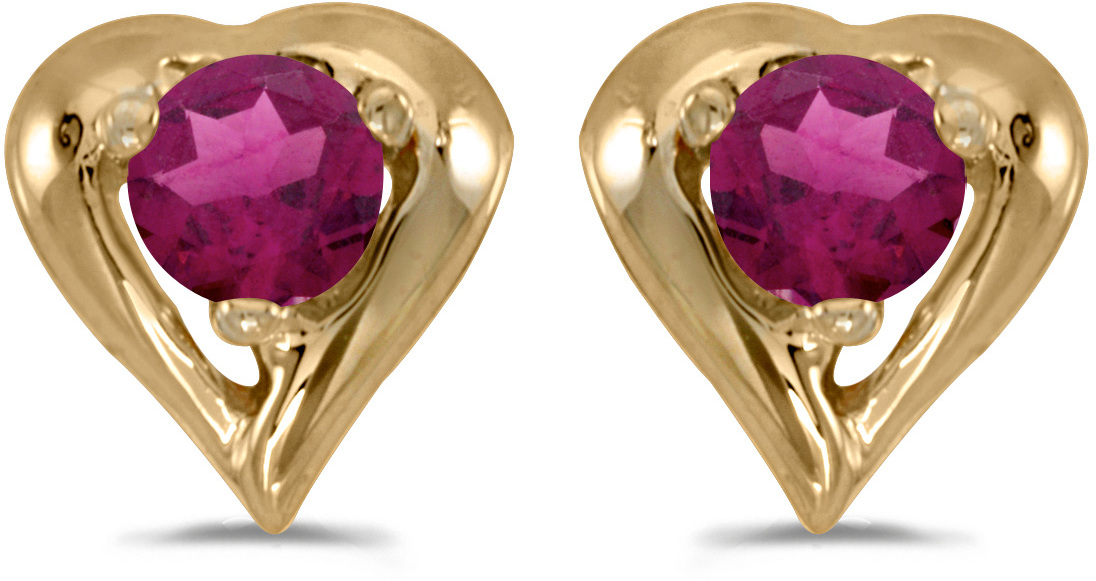 14k Yellow Gold Round Rhodolite Garnet Heart Earrings