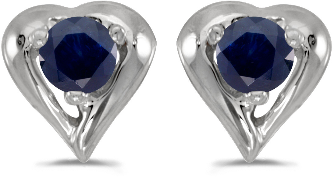 14k White Gold Round Sapphire Heart Earrings