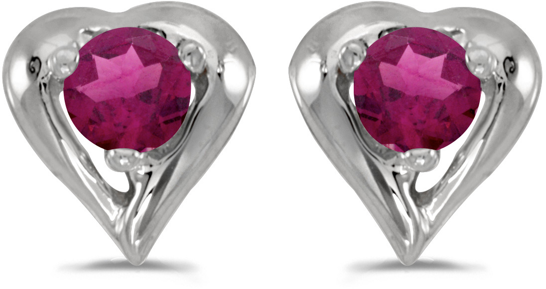 14k White Gold Round Rhodolite Garnet Heart Earrings