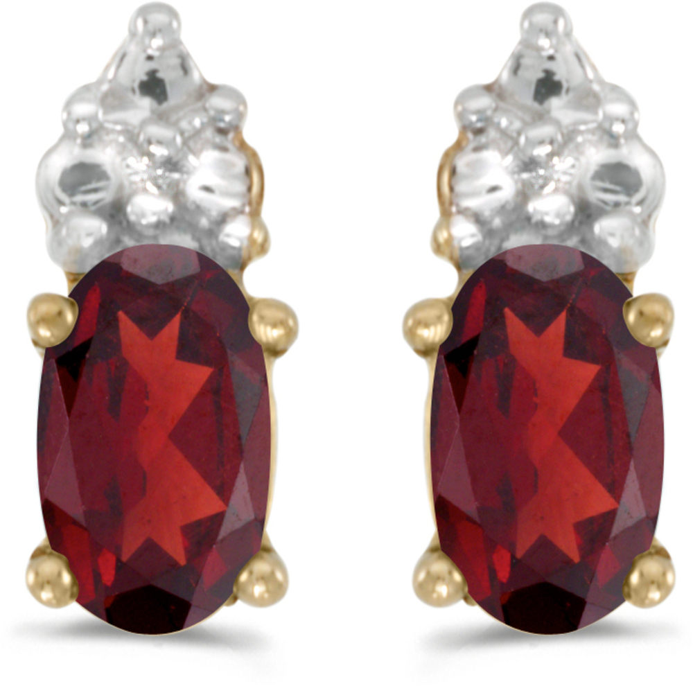 14k Yellow Gold Oval Garnet Earrings