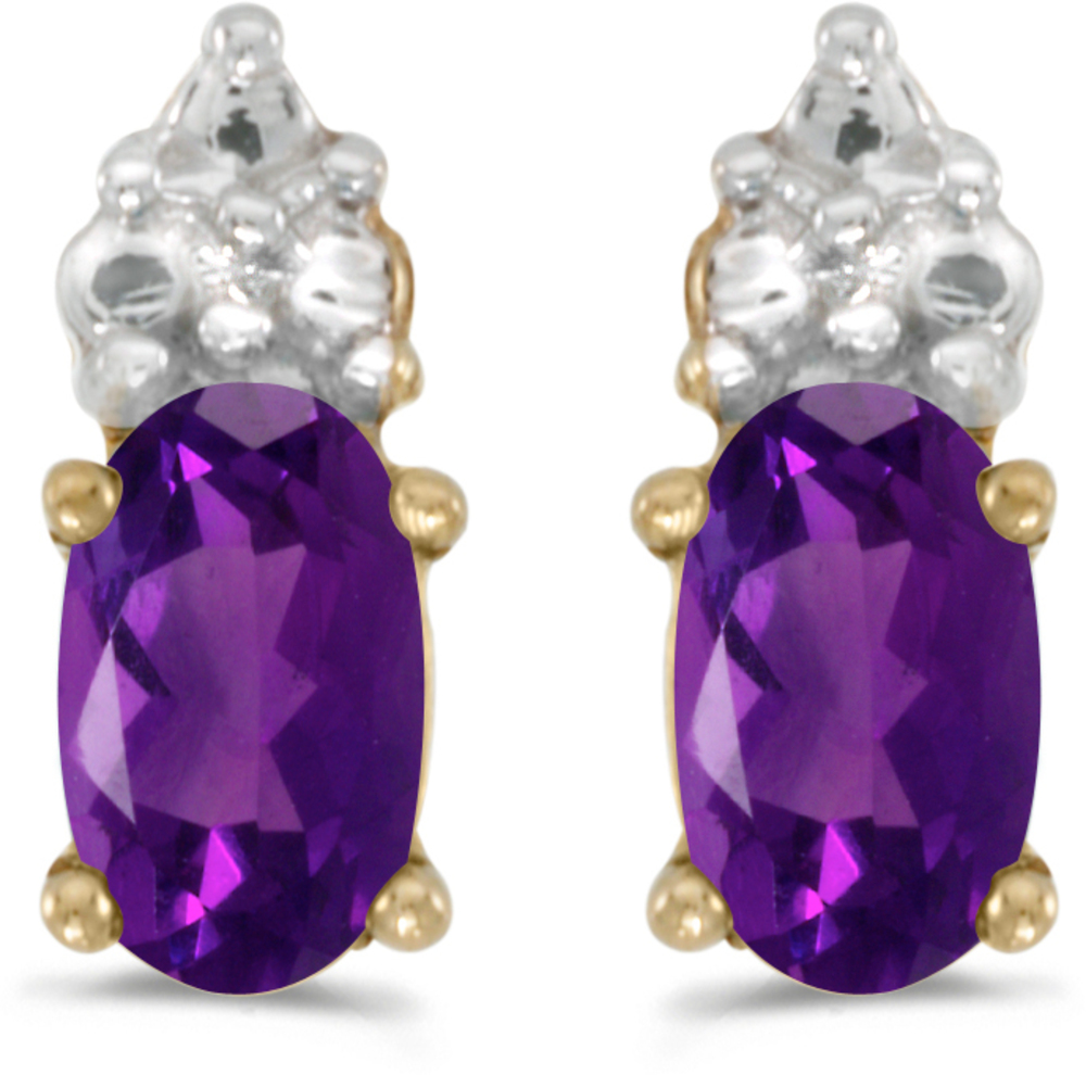 14k Yellow Gold Oval Amethyst Earrings