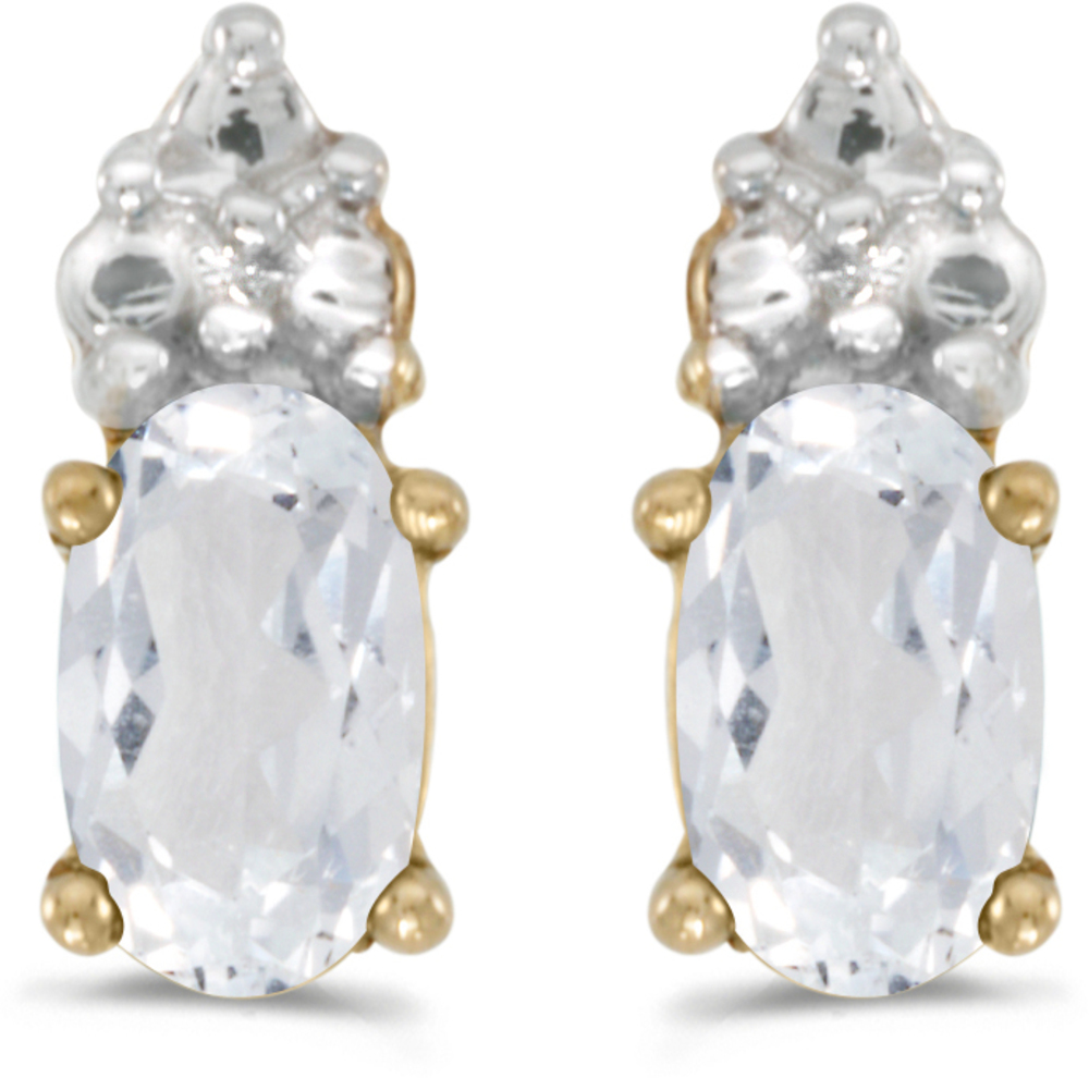 14k Yellow Gold Oval White Topaz Earrings