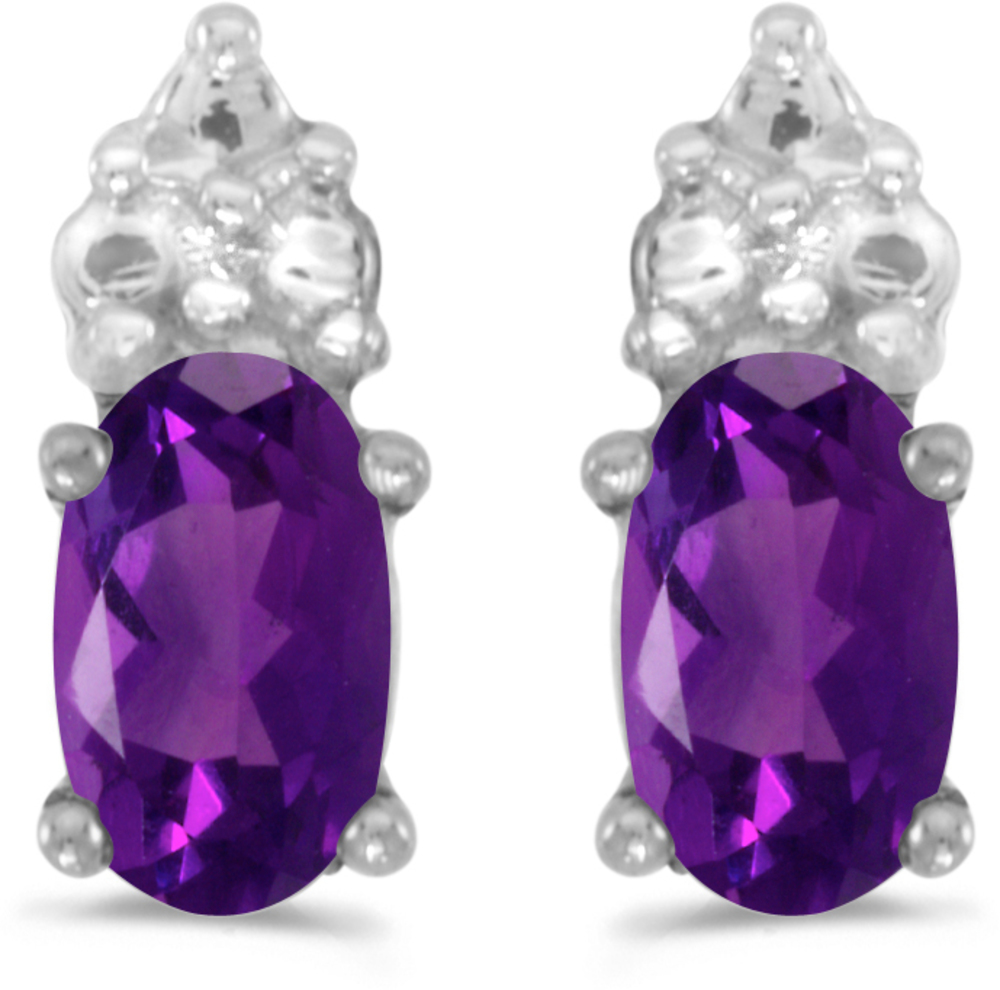 14k White Gold Oval Amethyst Earrings