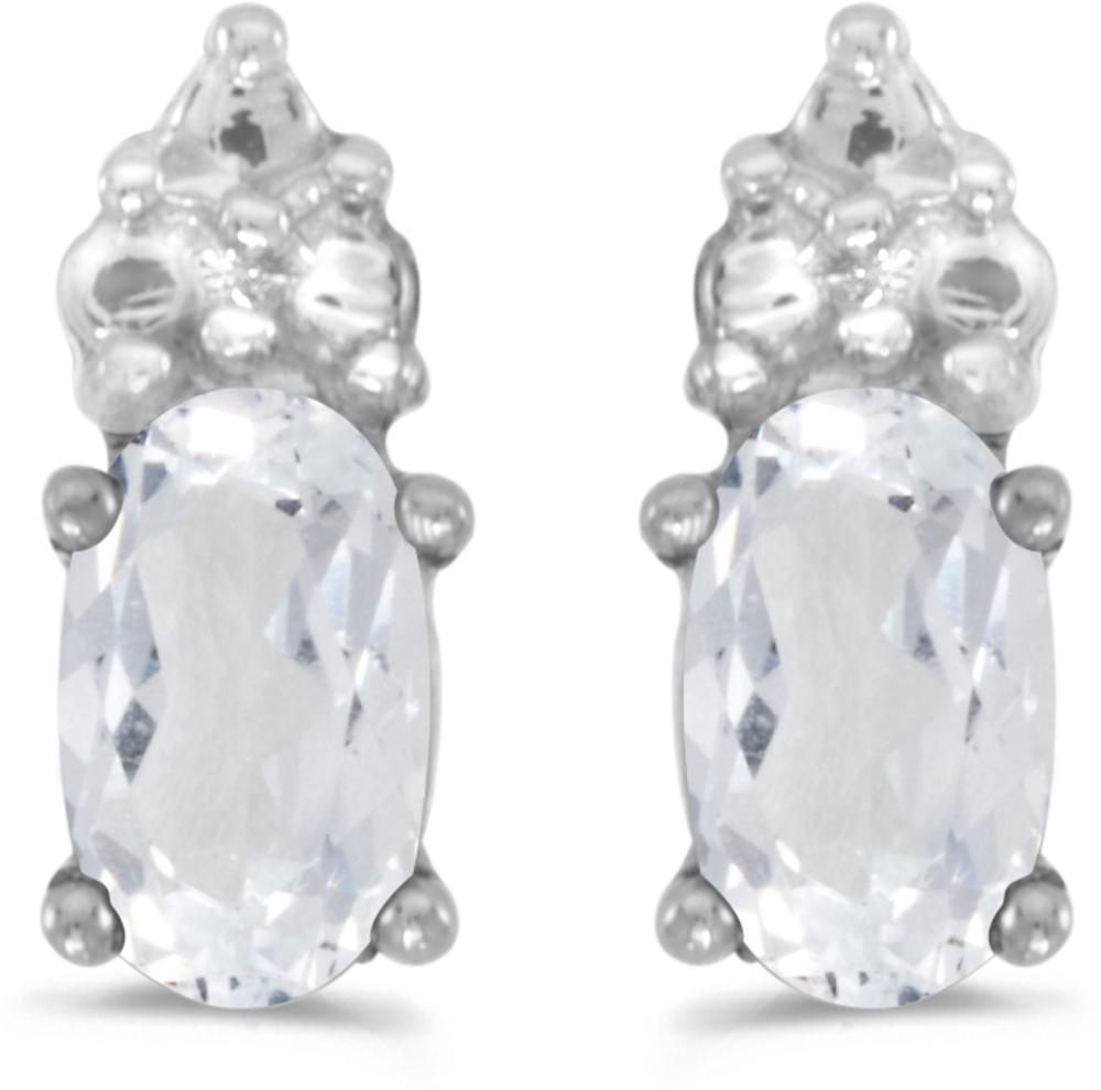 14k White Gold Oval White Topaz Earrings (CM-E1781XW-04)