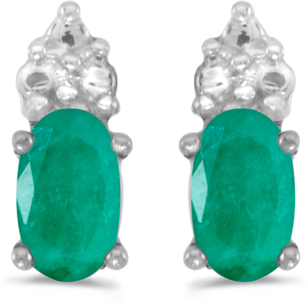 14k White Gold Oval Emerald Earrings (CM-E1781XW-05)