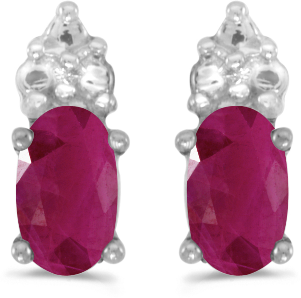 14k White Gold Oval Ruby Earrings (CM-E1781XW-07)