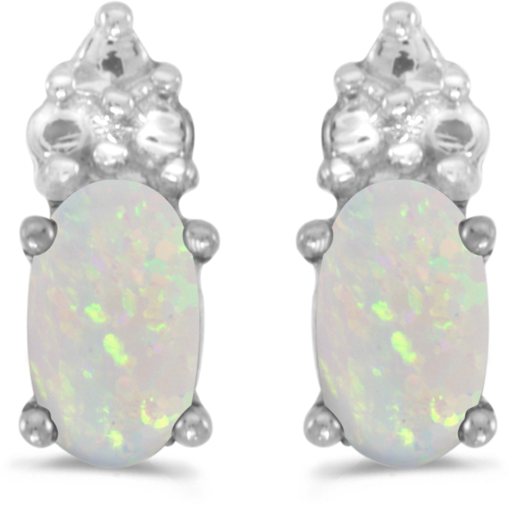 14k White Gold Oval Opal Earrings (CM-E1781XW-10)