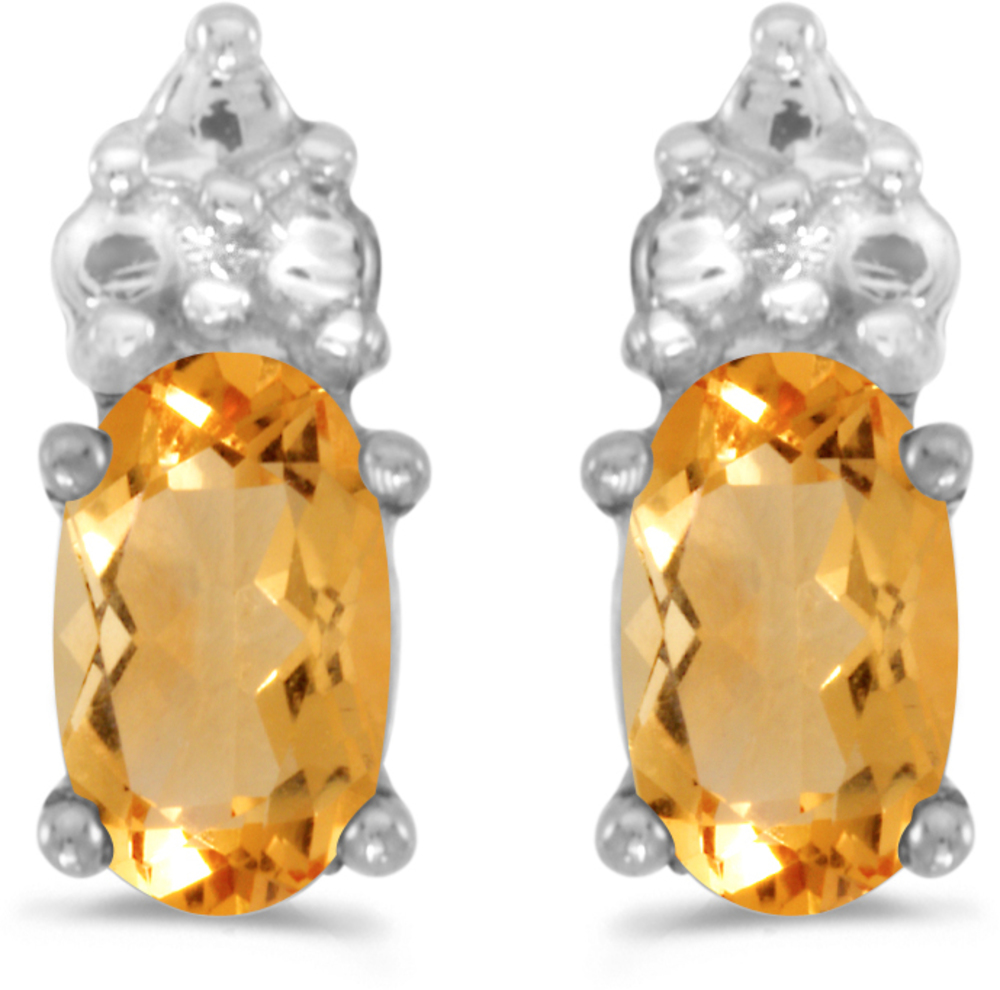 14k White Gold Oval Citrine Earrings (CM-E1781XW-11)