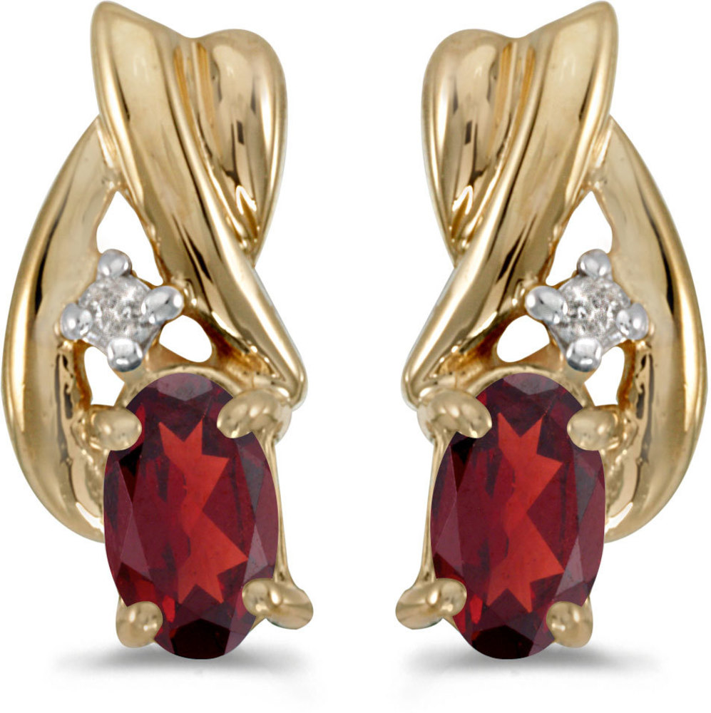 14k Yellow Gold Oval Garnet And Diamond Earrings (CM-E1861X-01)