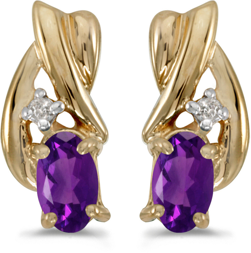 14k Yellow Gold Oval Amethyst And Diamond Earrings (CM-E1861X-02)