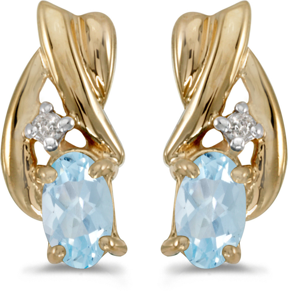 14k Yellow Gold Oval Aquamarine And Diamond Earrings (CM-E1861X-03)