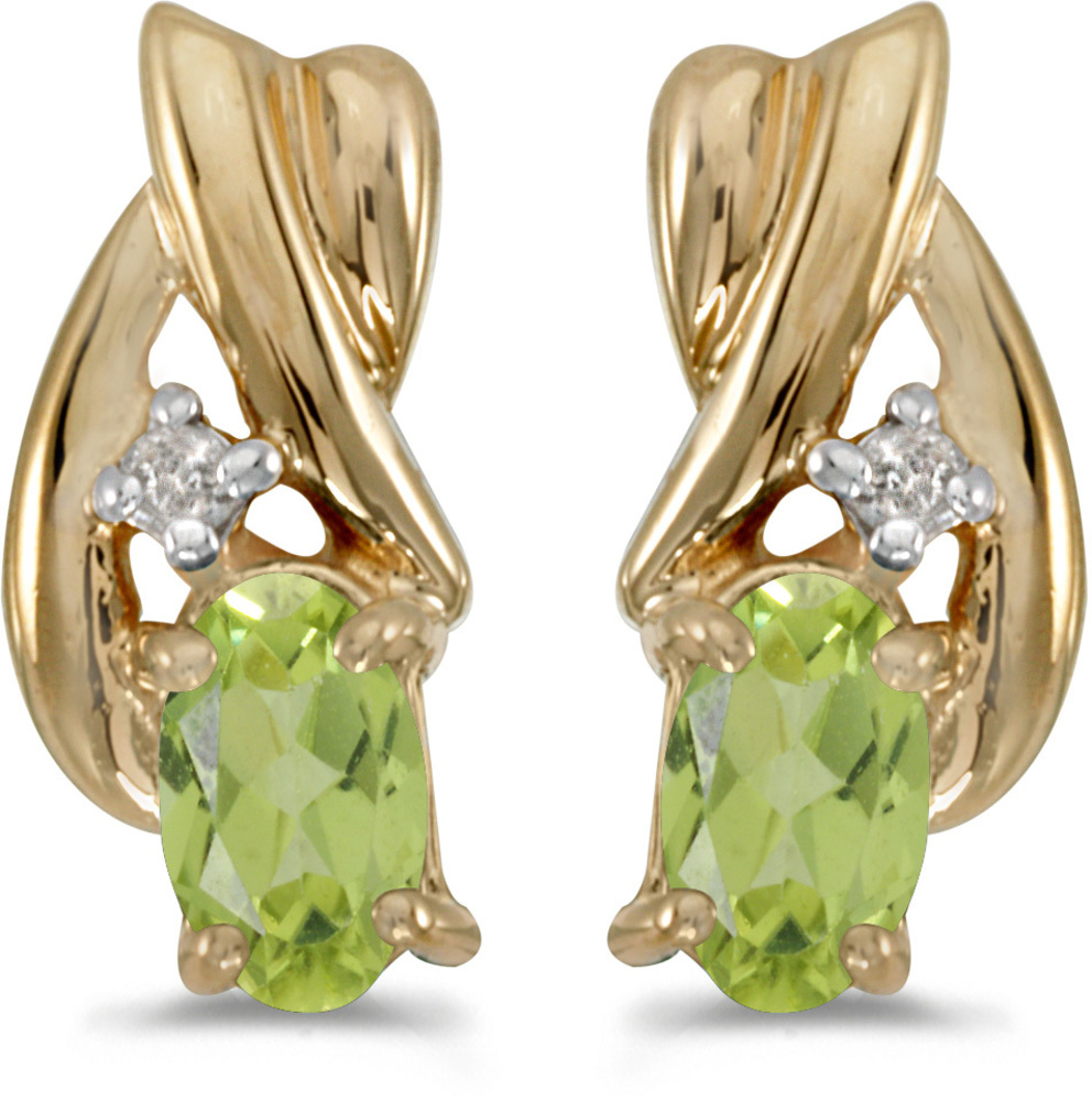 14k Yellow Gold Oval Peridot And Diamond Earrings (CM-E1861X-08)