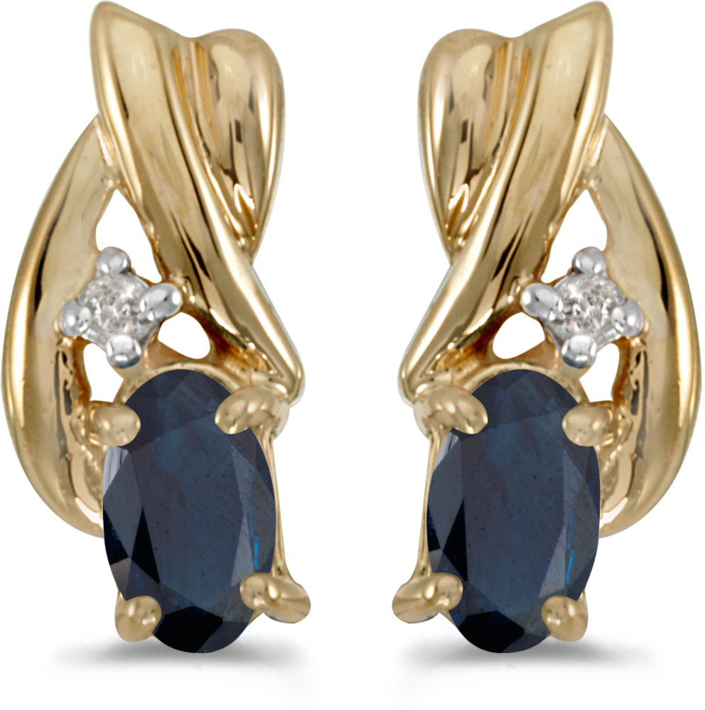 14k Yellow Gold Oval Sapphire And Diamond Earrings (CM-E1861X-09)