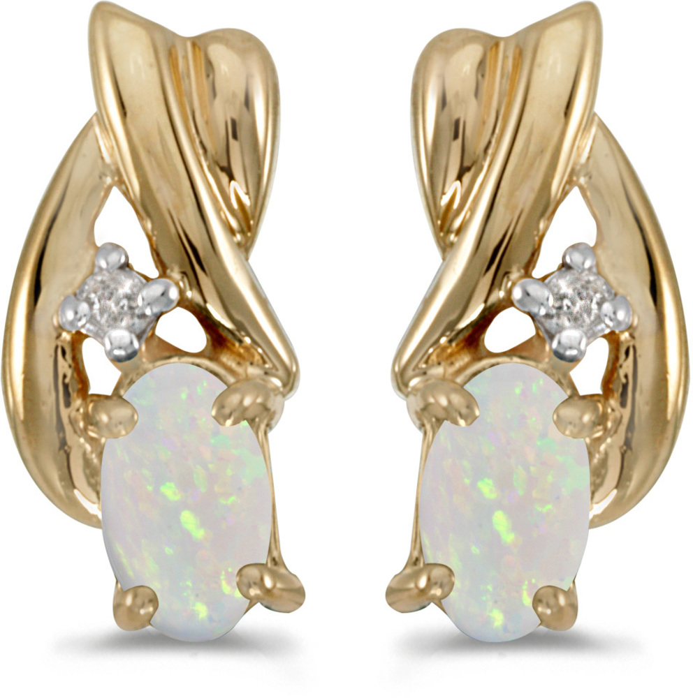 14k Yellow Gold Oval Opal And Diamond Earrings (CM-E1861X-10)