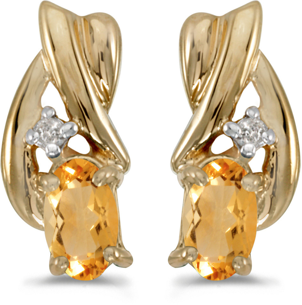 14k Yellow Gold Oval Citrine And Diamond Earrings (CM-E1861X-11)