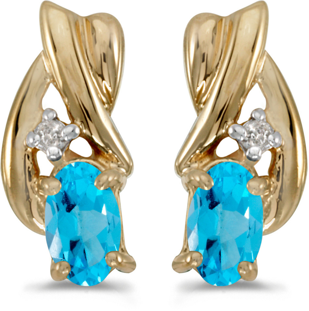 14k Yellow Gold Oval Blue Topaz And Diamond Earrings (CM-E1861X-12)