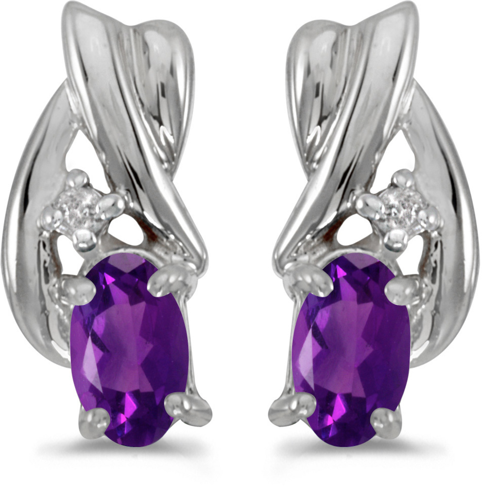 14k White Gold Oval Amethyst And Diamond Earrings (CM-E1861XW-02)