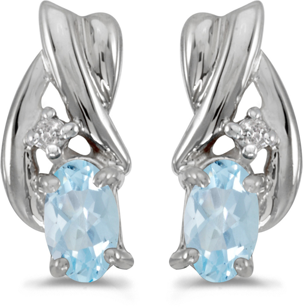 14k White Gold Oval Aquamarine And Diamond Earrings (CM-E1861XW-03)