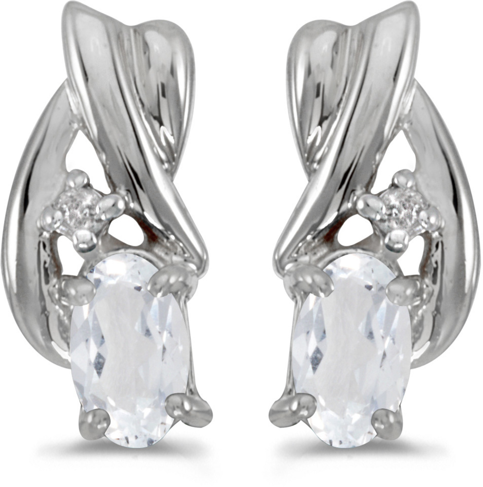 14k White Gold Oval White Topaz And Diamond Earrings (CM-E1861XW-04)