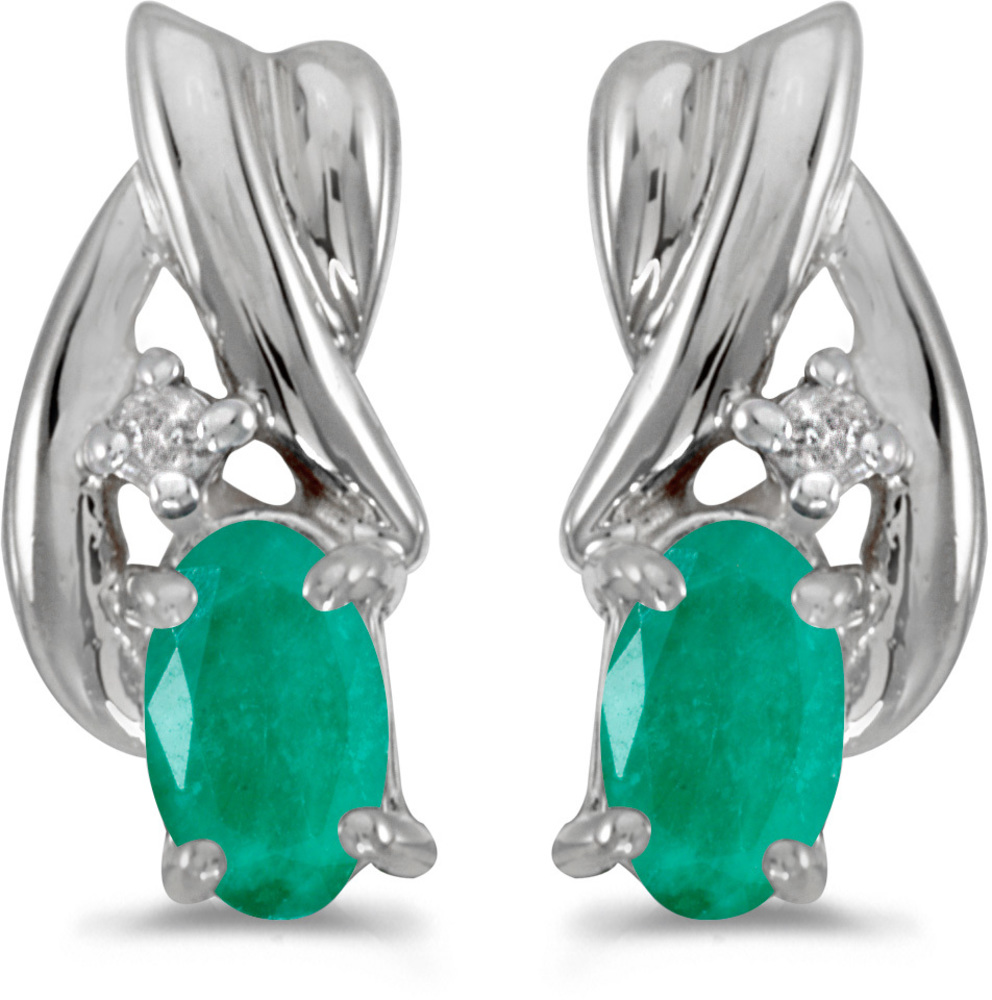 14k White Gold Oval Emerald And Diamond Earrings (CM-E1861XW-05)
