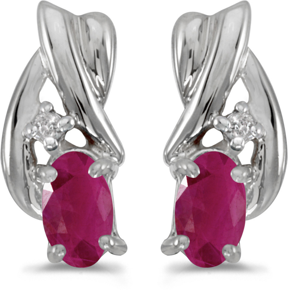 14k White Gold Oval Ruby And Diamond Earrings (CM-E1861XW-07)