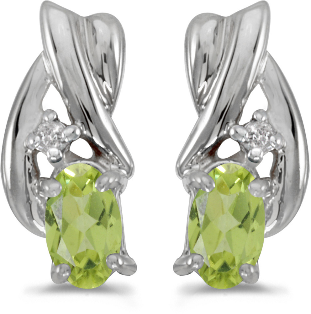 14k White Gold Oval Peridot And Diamond Earrings (CM-E1861XW-08)