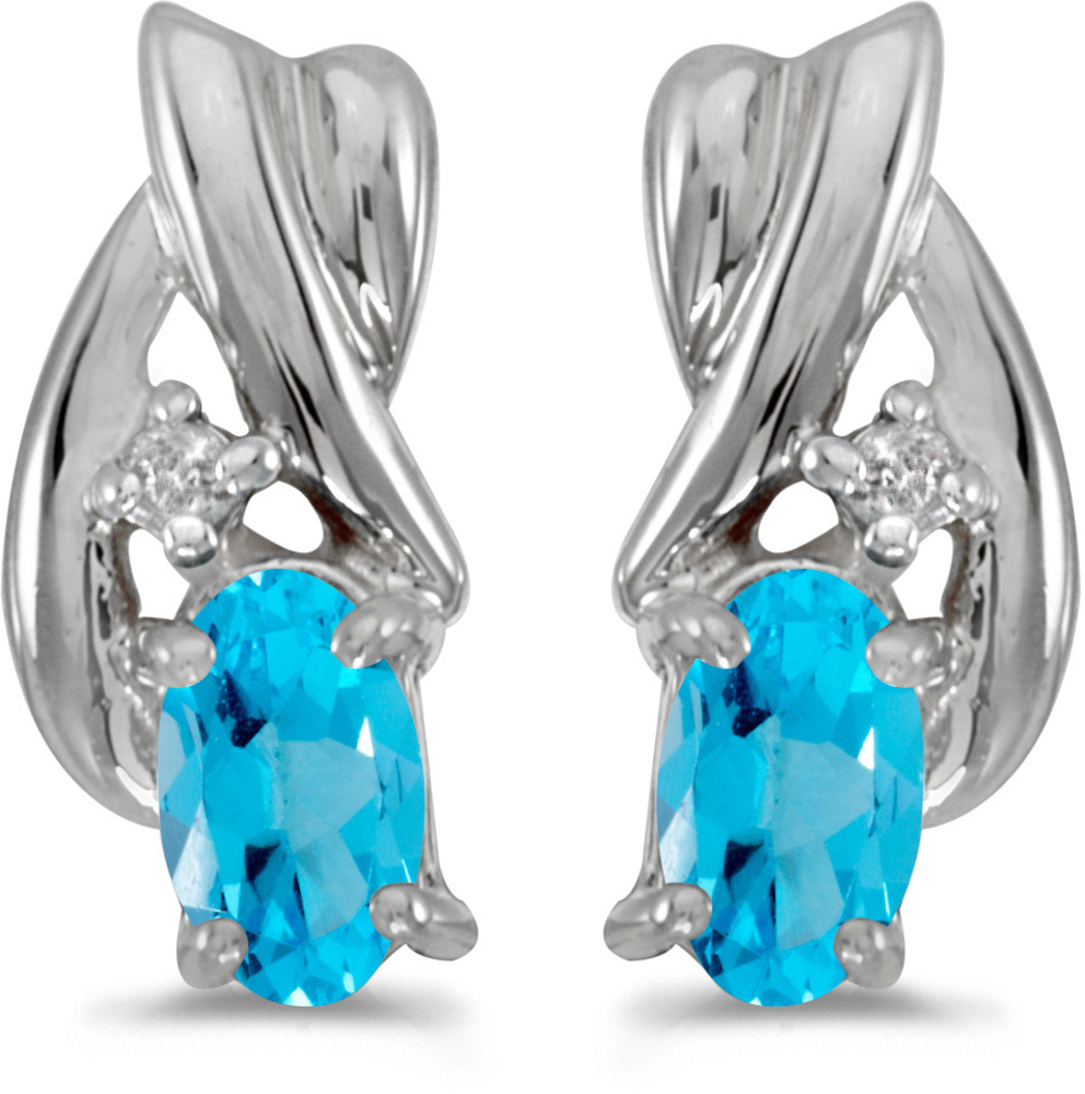14k White Gold Oval Blue Topaz And Diamond Earrings (CM-E1861XW-12)