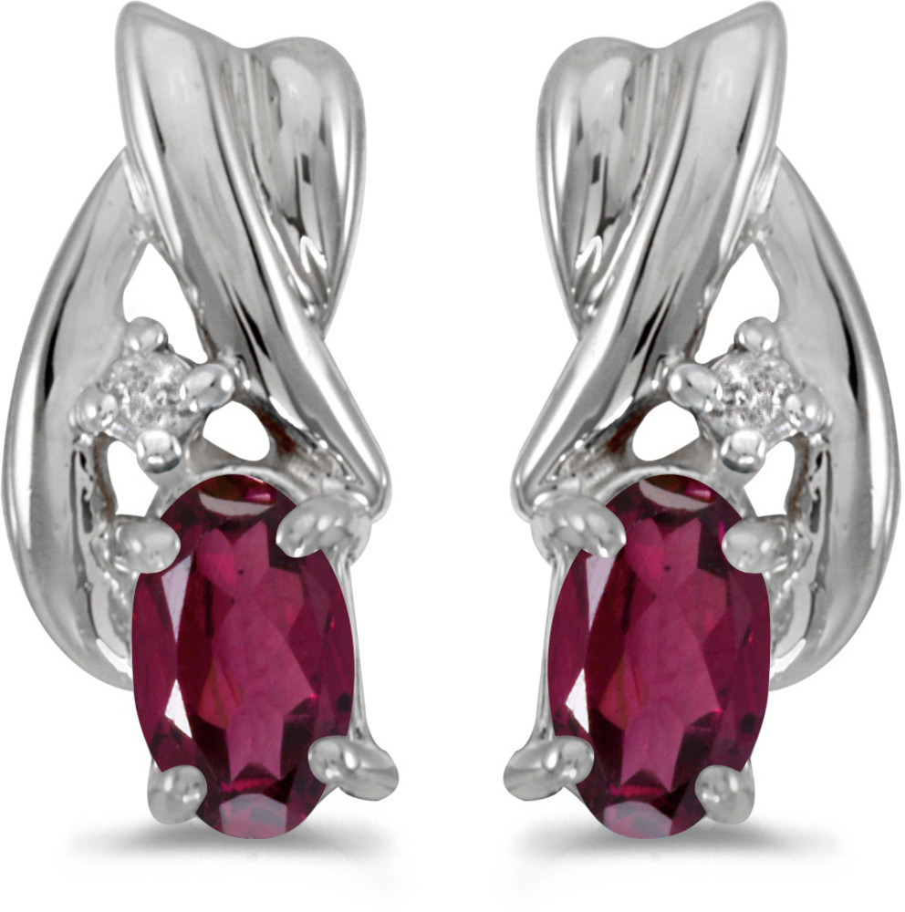 14k White Gold Oval Rhodolite Garnet And Diamond Earrings (CM-E1861XW-RG)