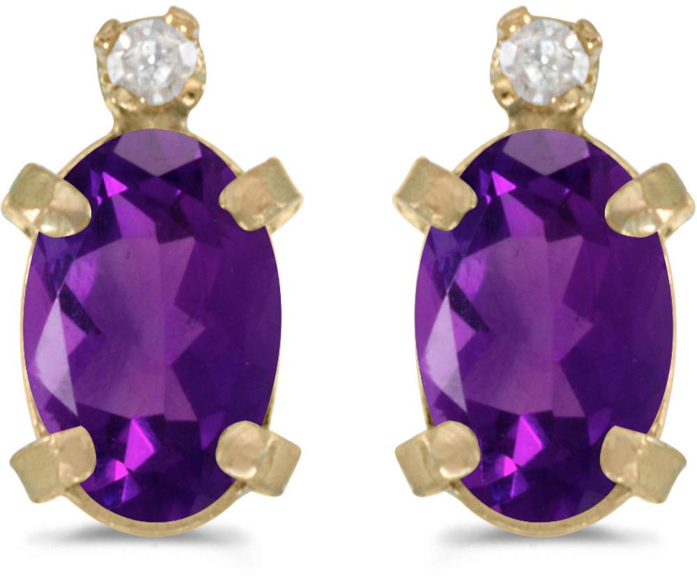 14k Yellow Gold Oval Amethyst And Diamond Earrings (CM-E2209X-02)