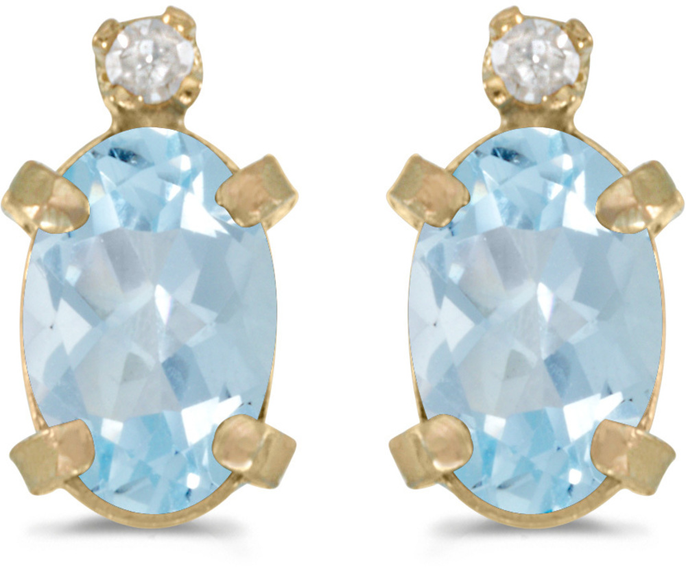 14k Yellow Gold Oval Aquamarine And Diamond Earrings (CM-E2209X-03)