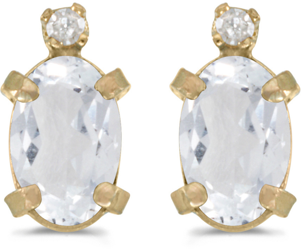 14k Yellow Gold Oval White Topaz And Diamond Earrings (CM-E2209X-04)
