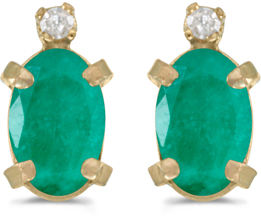 14k Yellow Gold Oval Emerald And Diamond Earrings (CM-E2209X-05)