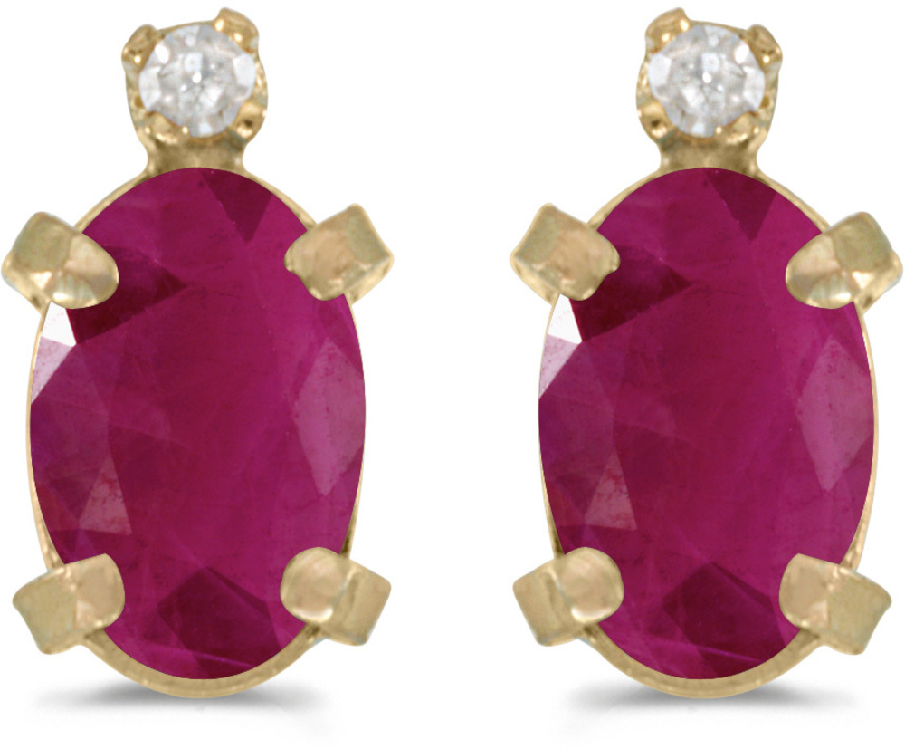 14k Yellow Gold Oval Ruby And Diamond Earrings (CM-E2209X-07)
