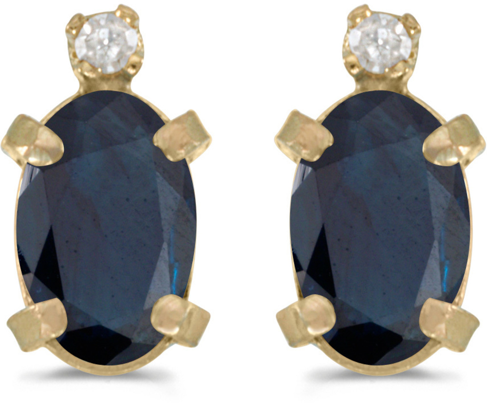 14k Yellow Gold Oval Sapphire And Diamond Earrings (CM-E2209X-09)