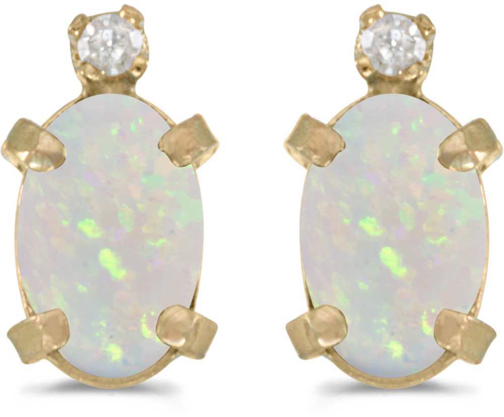14k Yellow Gold Oval Opal And Diamond Earrings (CM-E2209X-10)