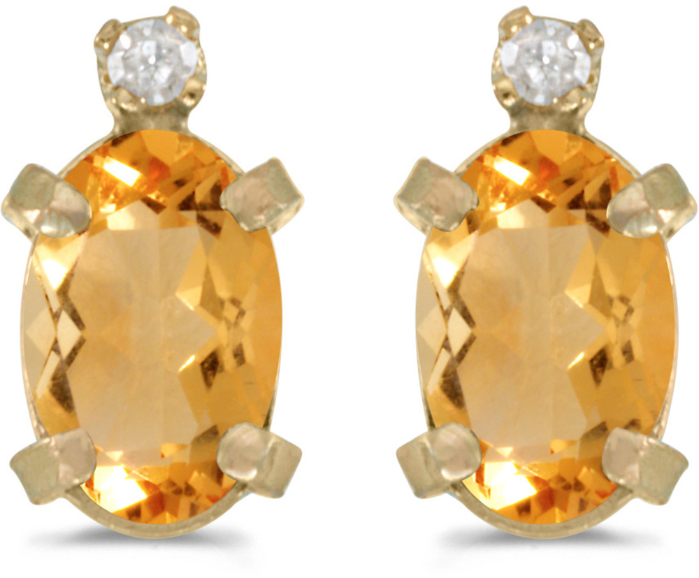 14k Yellow Gold Oval Citrine And Diamond Earrings (CM-E2209X-11)