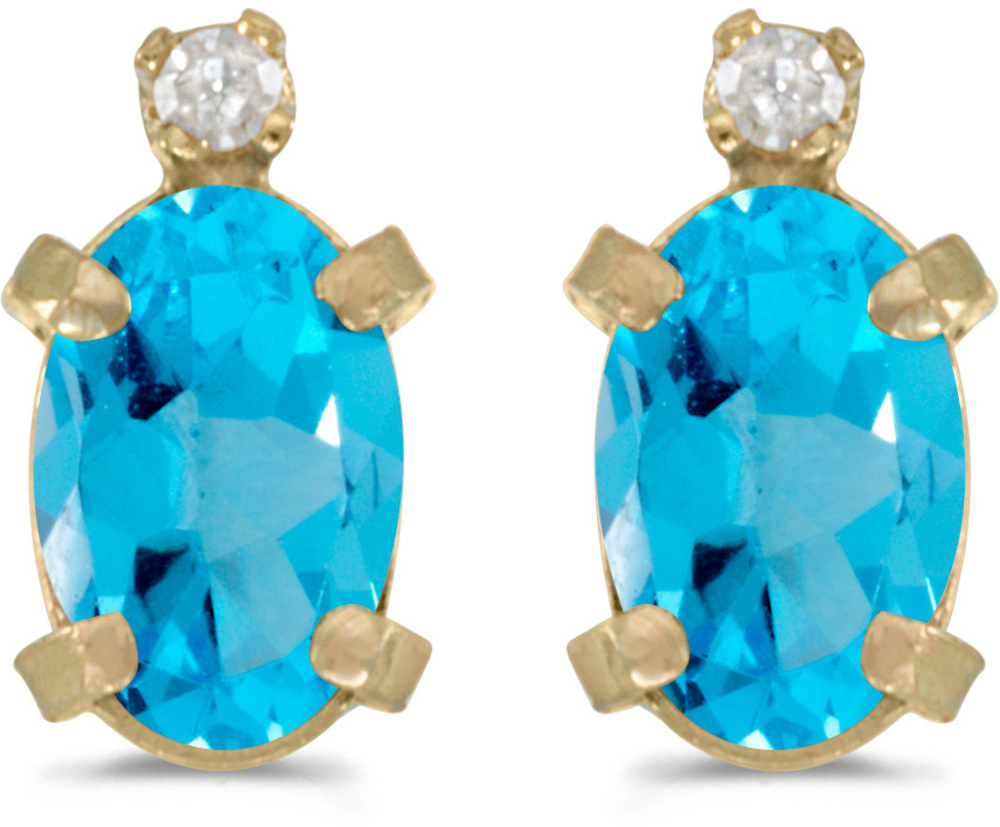 14k Yellow Gold Oval Blue Topaz And Diamond Earrings (CM-E2209X-12)
