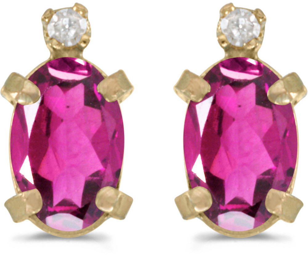 14k Yellow Gold Oval Pink Topaz And Diamond Earrings (CM-E2209X-PT)