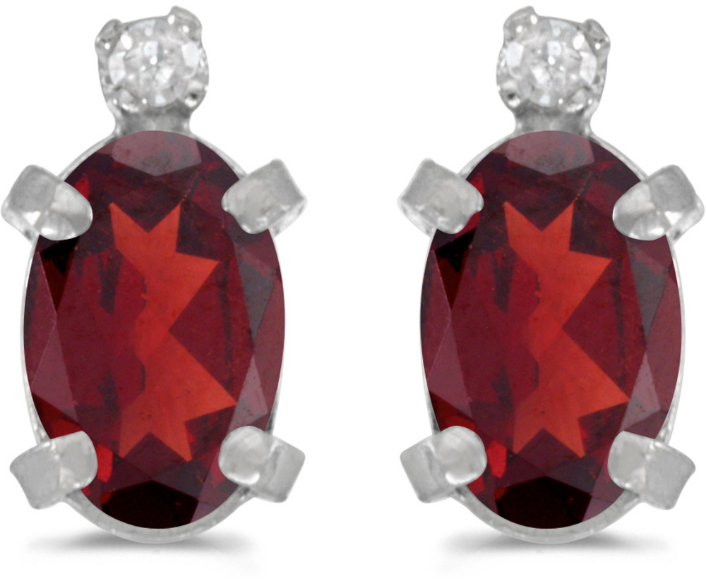 14k White Gold Oval Garnet And Diamond Earrings (CM-E2209XW-01)
