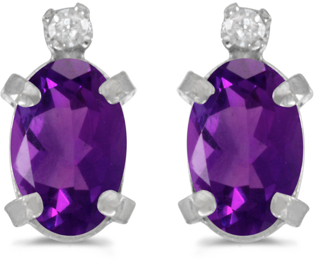 14k White Gold Oval Amethyst And Diamond Earrings (CM-E2209XW-02)