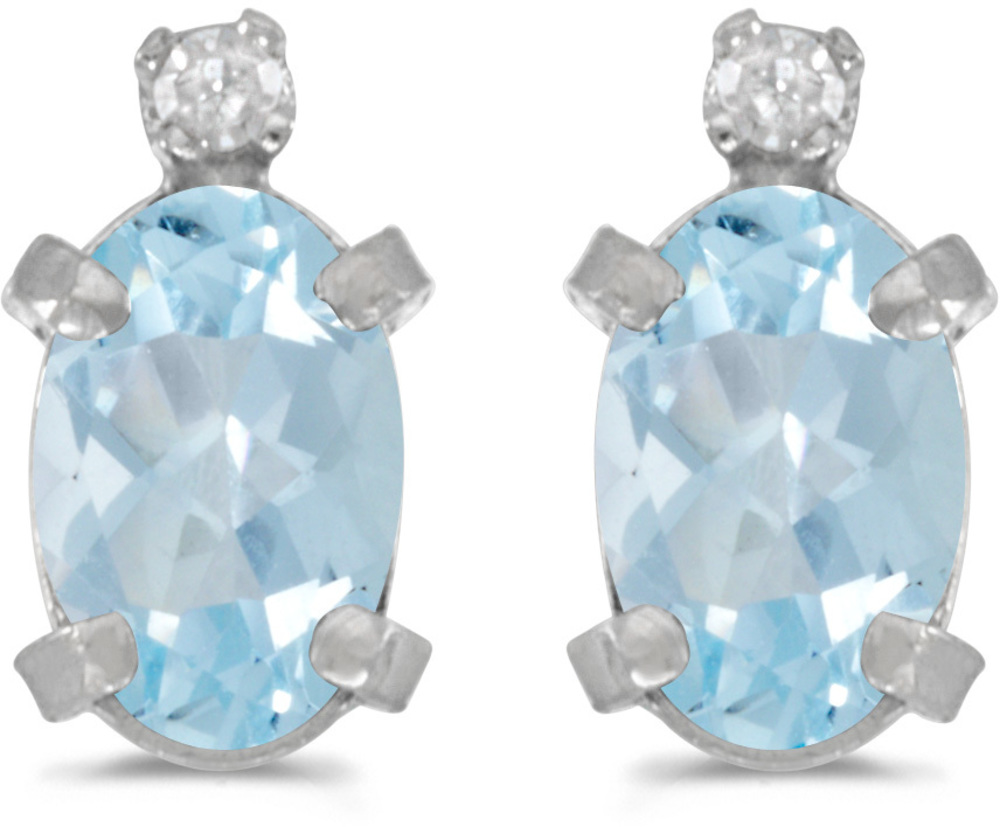 14k White Gold Oval Aquamarine And Diamond Earrings (CM-E2209XW-03)