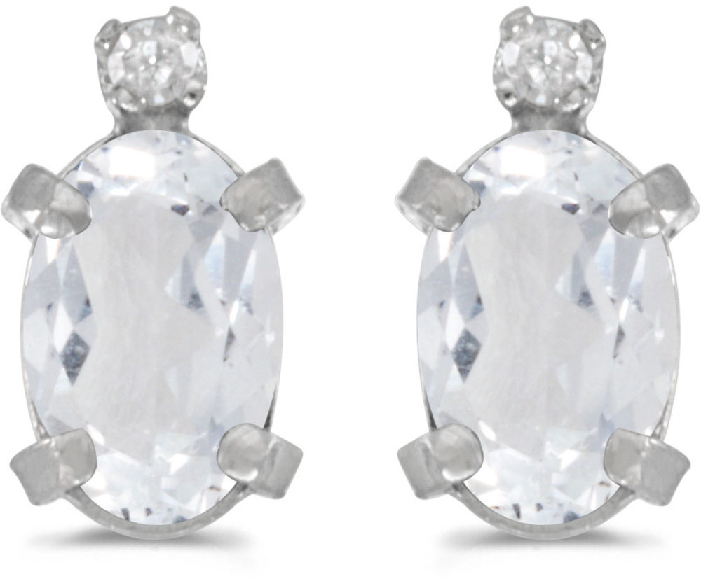 14k White Gold Oval White Topaz And Diamond Earrings (CM-E2209XW-04)