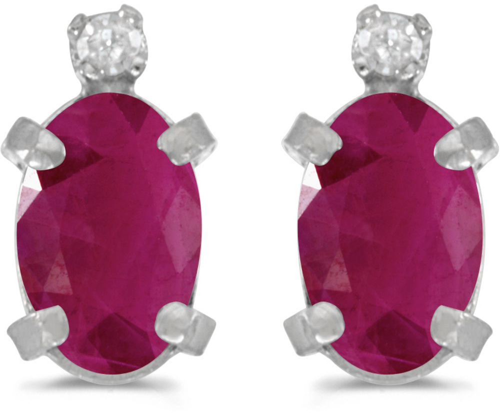 14k White Gold Oval Ruby And Diamond Earrings (CM-E2209XW-07)